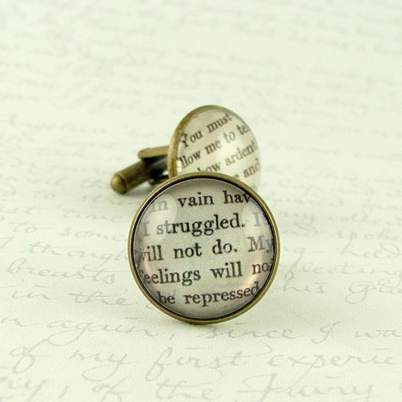 SALE - Jane Austen Cufflinks - Pride and Prejudice - Book Jewelry - How Ardently I Admire and Love You