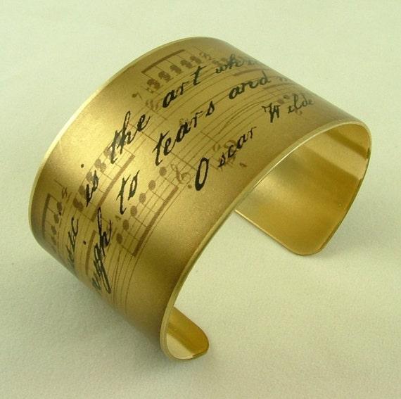 Oscar Wilde Witty Quote - Music is the art - Sheet Music Brass Cuff