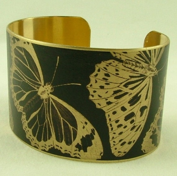 Black Butterfly Brass Cuff Bracelet - Entomology Insect Jewelry