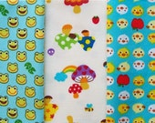 Kawaii Fabrics POUCH CUT Combo Pack ducks mushrooms frogs