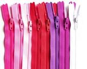 YKK Zipper 6 Inch Sampler Pack Valentine Mix cherry red bubble gum pink purple magenta white