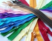 SALE 100 Assorted 10 Inch Zippers YKK red orange yellow green blue purple pink brown black white