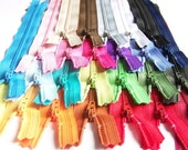 SALE 25 Assorted 9 and 10 Inch Zippers red orange yellow green blue purple pink black white gray brown magenta