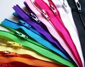 Zippers- 9 Inch Rainbow Sampler (10) Pieces red orange yellow green blue purple pink black white