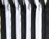 Black and White 9 Inch YKK Zipper Bundle 10 Zippers