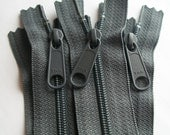 Five 12 Inch Ykk Long Pull Purse Zippers Slate Gray Color 914