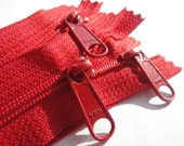 Zippers- YKK Long Handbag Pull Purse Zippers Color 519 RED- 5 Pieces- Available in 7,8,9,10,12,14,16 and 18 inches