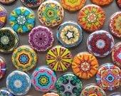 25 Assorted Kaleidoscope Zipper Pulls NEW DESIGNS - Pinwheel Collection