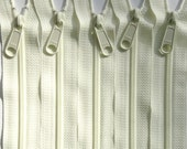 Five 18 Inch YKK Long Handbag Pull Purse Zippers Color 502 IVORY