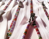 YKK Excella Rainbow Teeth Zippers - 7 inch - White (1) Zipper
