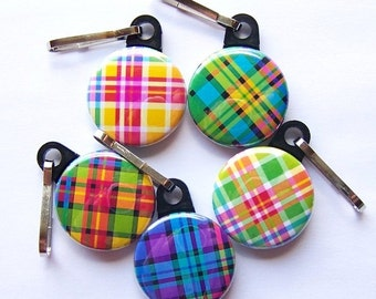 Plaid Zipper Pulls Set of 5
