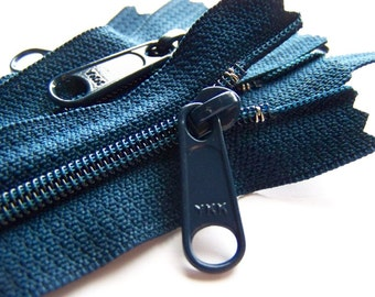 Five Navy Blue 10 Inch Ykk Purse Zippers with a Long Handbag Pull