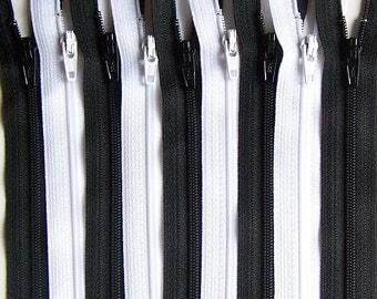 SALE Wholesale 50 YKK Zippers 8 Inch Black and White Bundle