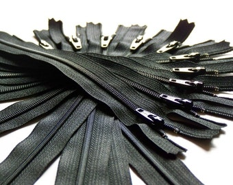 Twenty-five 12 Inch Black YKK Zippers Color 580