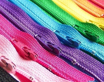 12 Inch Ykk Zipper Rainbow Sampler Pack 10 pcs red orange yellow green blue purple pink black white