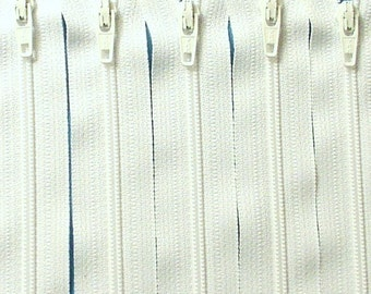 Ten 10 Inch White Zippers YKK Color 501