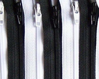 Black and White 4 Inch Zipper Bundle 20 Zippers