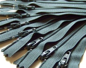 Ten 8 Inch Slate Gray Zippers YKK 914