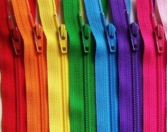 6 Inch Ykk Zipper Rainbow Sampler Pack 10 pcs red orange yellow green blue purple pink black white