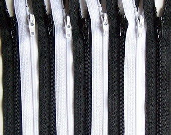 Black and White YKK Zipper Bundle 10 Zippers- Available in 3,4,5,6,7,8,910,11,12,14,16,18,20,22,24,28 and 30 Inches