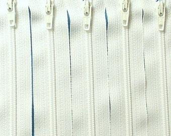 Twenty-five 18 Inch White YKK Zippers Color 501