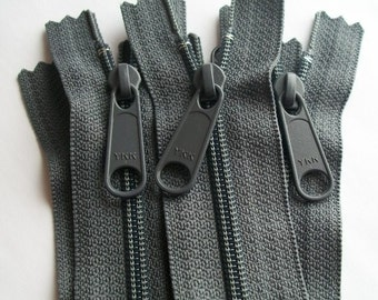 Five 14 Inch Ykk Long Pull Purse Zippers Color 914  Slate Gray