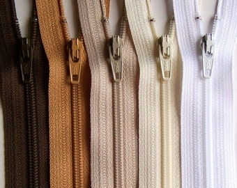 9 Inch YKK Zipper Bundle NATURALS brown tan beige vanilla white 10 pcs