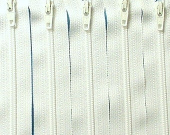 SALE Wholesale Fifty 5 Inch White Ykk Zippers Color 501