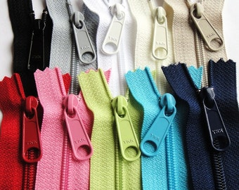 9 Inch Ykk Purse Zippers with a Long Handbag Pull 10 Piece Sampler black white gray beige ivory pink blue navy green apple red