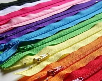 YKK Zippers 12 Inch Rainbow Sampler red orange yellow green blue purple pink black white