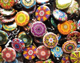 100 Assorted Kaleidoscope Zipper Pulls NEW DESIGNS - Pinwheel Collection