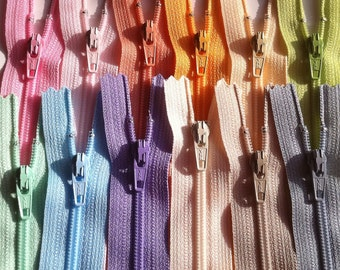 Ykk Zippers PASTEL Sampler Pack- 12pcs- Light pretty colors- Available in 3,4,5,6,7,8,9,10,12,14,16,18 and 22 Inches