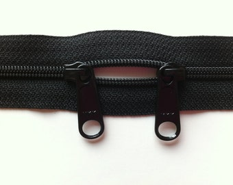 ONE 24 Inch 4.5mm YKK Zippers Color 580  with Two Long Pull Head to Head Sliders BLACK