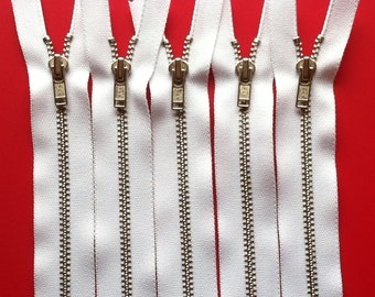 Metal Zippers- 20 inch closed bottom ykk nickel teeth zips- (5) pieces - White 501