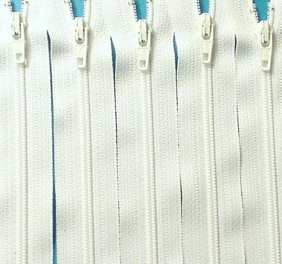 Ten 16 Inch White Zippers YKK Color 501