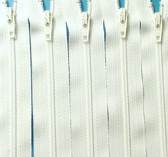 Ten 14 Inch White Zippers YKK Color 501