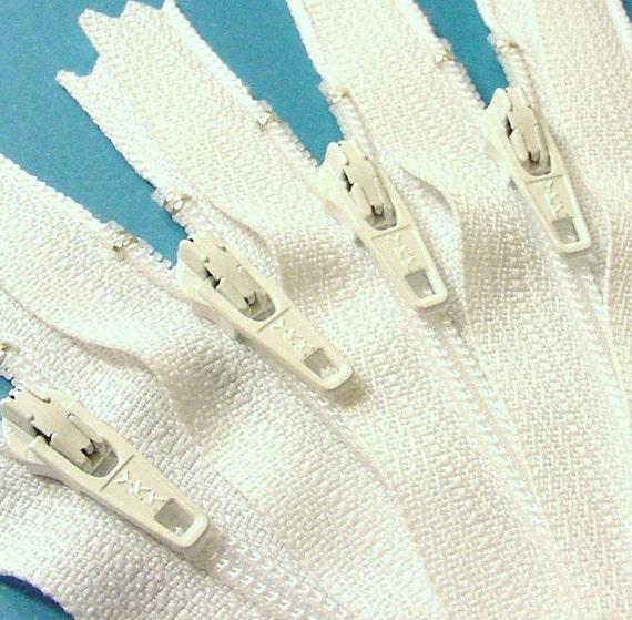 Ten 7 Inch White YKK Zippers Color 501