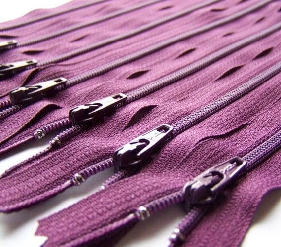 Ten Eggplant Purple 14 Inch YKK Zippers Color 265