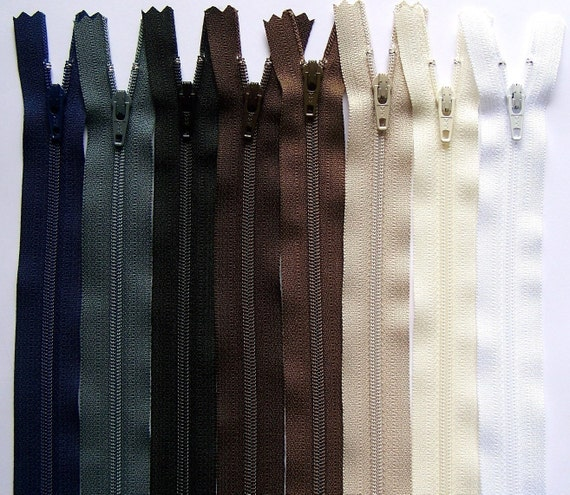 Earth Tones 10 Inch YKK Zipper Sampler Pack dark brown, cream, black, white, slate gray, navy blue, chocolate and beige
