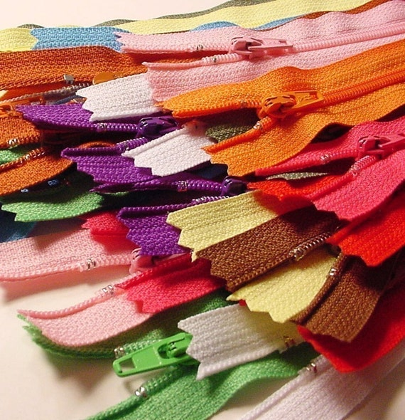 Your choice of 25 9 inch ykk zippers mix and match red - Does brown and purple match ...