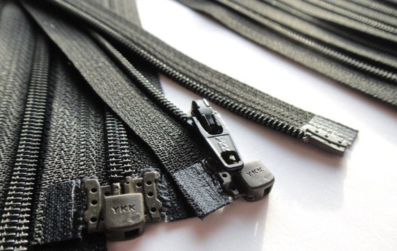 Five 6 Inch Black 3mm Nylon Coil YKK Separating Zippers Color 580