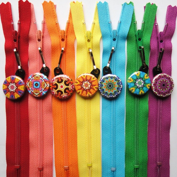 10 Assorted Kaleidoscope Zipper Pulls NEW DESIGNS - Pinwheel Collection