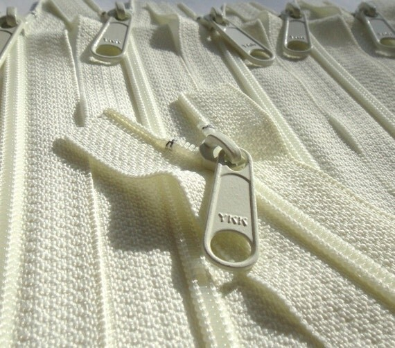 Five 10 Inch YKK Long Handbag Pull Purse Zippers Color 502 IVORY