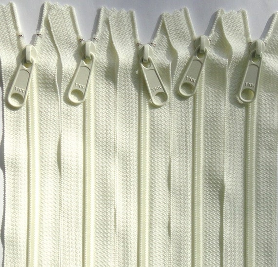 Five 18 Inch YKK Long Handbag Pull Purse Zippers Color 502 IVORY