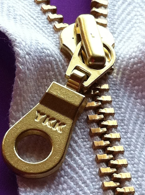 YKK Organic Cotton Tape Brass Metal with Donut Pull Zipper 12 Inch White (5) Pieces Eco Friendly