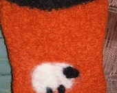 Knit and Felted Purse, needle felted sheep Cute Fall Colored