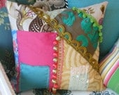 color block patchwork  pillow cover colorful designer fabrics