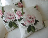 PAIR of  vintage 1940 barkcloth  pillow covers Magnolia pink