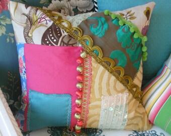color block patchwork  pillow cover colorful designer fabrics