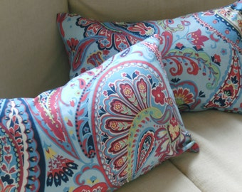 Pair of  paisley print  decorative  pillow covers